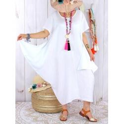 Robe longue lin grande taille été originale CARSAC blanche Robe longue femme