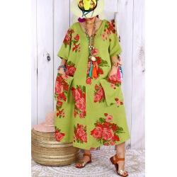 Robe longue grande taille lin été bohème LUCILE vert anis-Robe longue femme-CHARLESELIE94