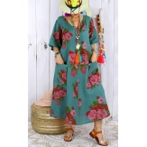 Robe longue grande taille lin été bohème LUCILE kaki-Robe longue femme-CHARLESELIE94