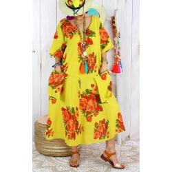 Robe longue femme grande taille lin LUCILE Jaune citron-Robe longue femme-CHARLESELIE94