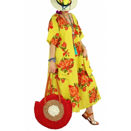 Robe longue grande taille lin été bohème LUCILE jaune citron