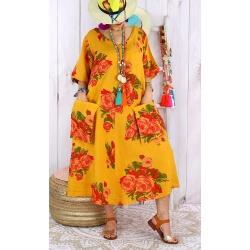 Robe longue femme grande taille lin LUCILE Safran-Robe longue femme-CHARLESELIE94
