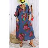 Robe longue femme grande taille lin LUCILE Bleu jean-Robe longue femme-CHARLESELIE94