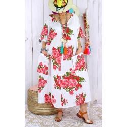 Robe longue grande taille lin été bohème LUCILE blanche-Robe longue femme-CHARLESELIE94