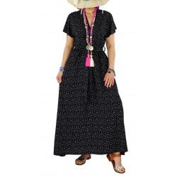 Robe longue été liberty bohème  RAVELO noire