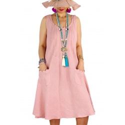 Robe femme grande taille lin bohème été MATEA rose