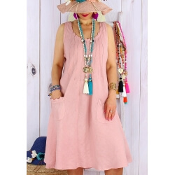 Robe femme grande taille lin bohème été MATEA rose-Robe femme-CHARLESELIE94