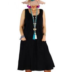 Robe femme grande taille lin bohème été MATEA noire
