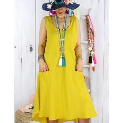 Robe femme grande taille lin été MATEA Jaune moutarde Robe femme