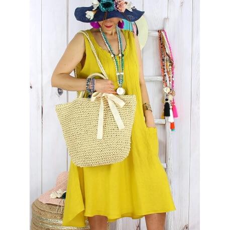 Robe femme grande taille lin bohème été MATEA jaune moutarde