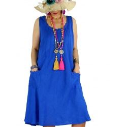 Robe femme grande taille lin bohème été MATEA bleu royal