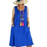 Robe femme grande taille lin bohème été MATEA bleu royal-Robe femme-CHARLESELIE94