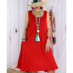 Robe femme grande taille lin été MATEA Rouge-Robe femme-CHARLESELIE94