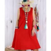 Robe femme grande taille lin bohème été MATEA rouge