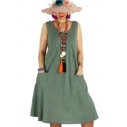 Robe femme grande taille lin bohème été MATEA kaki