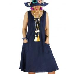 Robe femme grande taille lin bohème été MATEA bleu marine