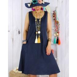 Robe femme grande taille lin bohème été MATEA bleu marine-Robe femme-CHARLESELIE94