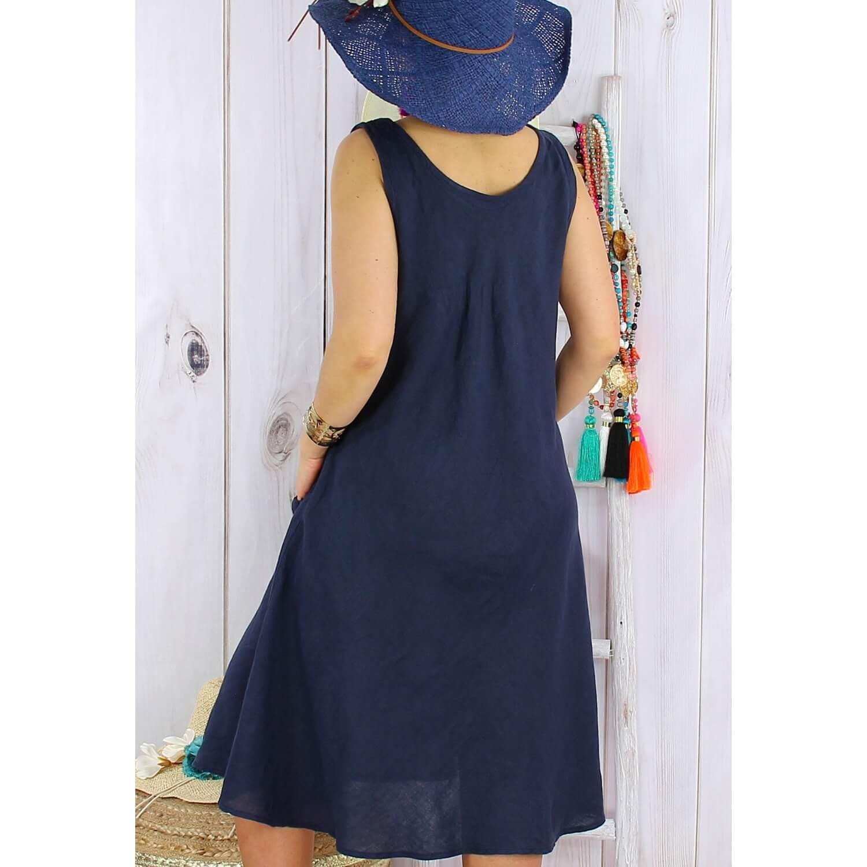 371ed0fcd Robe femme grande taille lin bohème été MATEA bleu marine
