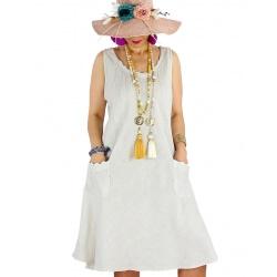 Robe femme grande taille lin bohème été MATEA beige