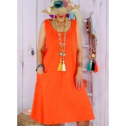 Robe femme grande taille lin bohème été MATEA orange-Robe femme-CHARLESELIE94