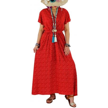 Robe longue été liberty bohème  RAVELO rouge
