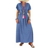 Robe longue été liberty bohème  RAVELO bleu jean