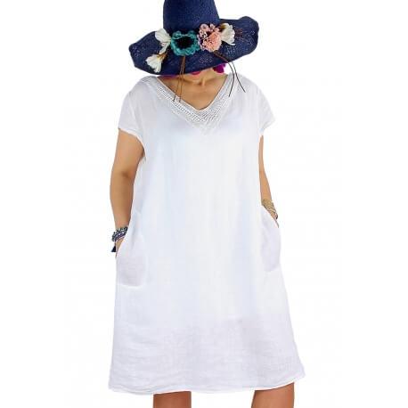 Robe grande taille lin broderies été blanc JEANNE
