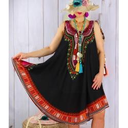 Robe grande taille été asymétrique noir INCAS-Robe été femme-CHARLESELIE94