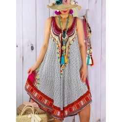 Robe grande taille été asymétrique originale blanc INCAS-Robe été femme-CHARLESELIE94