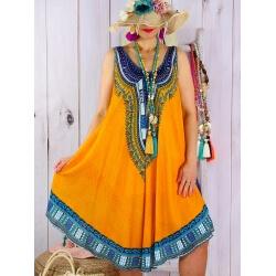 Robe grande taille été asymétrique jaune INCAS-Robe été femme-CHARLESELIE94