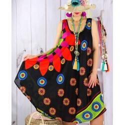 Robe évasée grande taille été asymétrique MEXICO Noir-Robe été femme-CHARLESELIE94