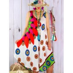 Robe grande taille évasée été asymétrique MEXICO Blanc-Robe été femme-CHARLESELIE94
