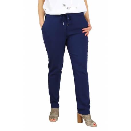 Pantalon jegging femme grande taille lycra GHISLAINE bleu marine