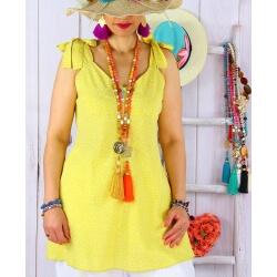 Tunique été liberty nœuds épaules KANA jaune