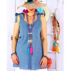 Tunique femme grande taille été liberty KANA Bleu jean-Tunique femme-CHARLESELIE94