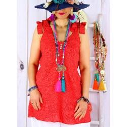 Tunique femme grande taille été liberty KANA Rouge-Tunique femme-CHARLESELIE94