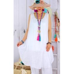 Tunique longue femme grande taille coton MIKADO Blanc-Tunique femme grande taille-CHARLESELIE94