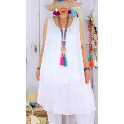 Tunique longue femme grande taille coton MIKADO Blanche Tunique femme grande taille