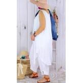Tunique longue grande taille été coton MIKADO blanche