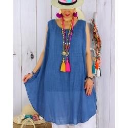 Tunique longue grande taille été coton MIKADO bleu jean-Tunique femme grande taille-CHARLESELIE94