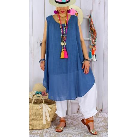 Tunique longue grande taille été coton MIKADO bleu jean Tunique femme grande taille