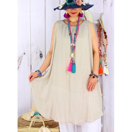 Tunique longue femme grande taille coton MIKADO Beige Tunique femme grande taille