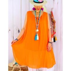 Tunique longue femme grande taille coton MIKADO Orange-Tunique femme grande taille-CHARLESELIE94