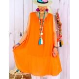 Tunique longue grande taille été coton MIKADO orange