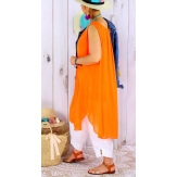 Tunique longue femme grande taille coton MIKADO Orange Tunique femme grande taille
