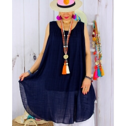 Tunique longue grande taille été coton MIKADO bleu marine-Tunique femme grande taille-CHARLESELIE94