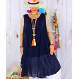Tunique longue grande taille été coton MIKADO bleu marine Tunique femme grande taille
