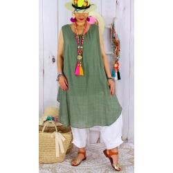 Tunique longue grande taille été coton MIKADO kaki Tunique femme grande taille