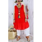 Tunique longue grande taille été coton MIKADO rouge