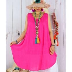 Tunique longue femme grande taille coton MIKADO Fushia-Tunique femme grande taille-CHARLESELIE94